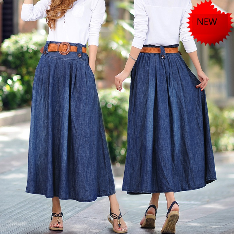 Modest Chic Long Denim Skirt | Style J #sasshoes #petra ... |Western Long Denim Skirts Modest
