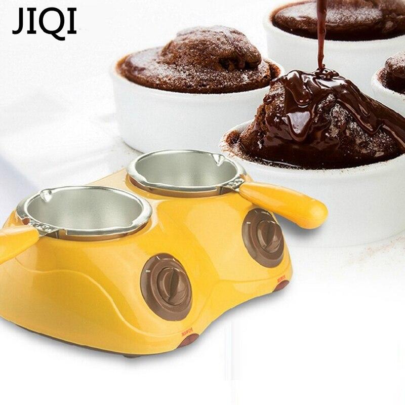 JIQI 2 pots Electric mini Chocolate Fondue chocolate melting pot fountain Hot Chocolate Melt Pot melter Machine boy girl gift