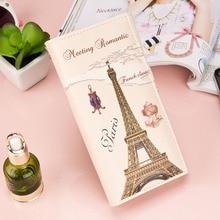 Newwholesale long clutch wallet fashion Beige Paris Car Pattern Women Long Purse Clutch Wallet Bag Card Holder