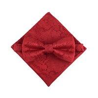 メンズ結婚式新郎ドレスシャツ蝶ネクタイポケットナプキンスーツワイン赤と黒パターン