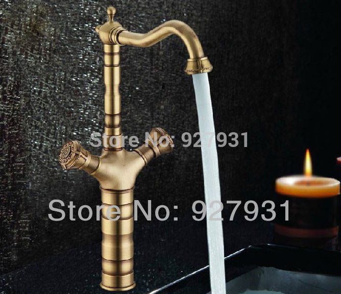 Luxury Bathroom Sink Mixer Tap Antique Brass Dual Handle Bathroom Mixer Faucet