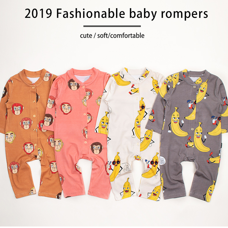 TinyPeople 2019 Baby   Rompers   monkey Print Cotton Newborn Boys   Romper   Girls Clothes Infant Baby Clothing Long Sleeved Jumpsuit