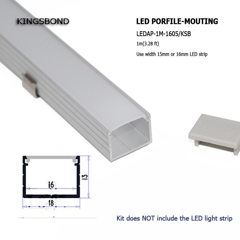 10ПЦС * 1М алуминијумски канал у облику слова У у облику алуминијума са равним поклопцем за светлосну траку водену траку од 16 мм на плочи