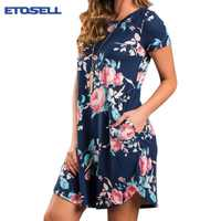 Sommer frauen kleider Mode O Neck Frauen Blumendruck Minikleid Sommer Kurzarm Kleider Party Hochzeit Vestido