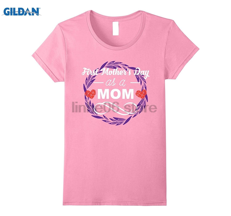 Возьмите Для женщин мой первый день матери как мама милые футболки мама подарок Горячие Для женщин футболка