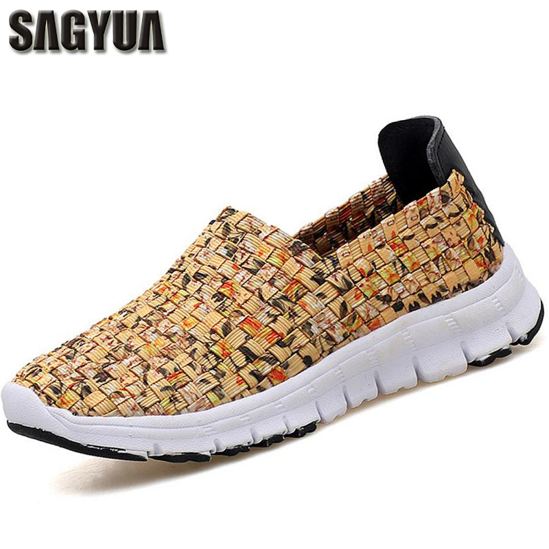 SAGYUA Women Spring Casual Feminino Fashion Weave Knitting Comfortable Shoes Slip-On Plimsolls Mujer Zapatos EUR Size 35-44 T033 sweet women high quality bowtie pointed toe flock flat shoes women casual summer ladies slip on casual zapatos mujer bt123