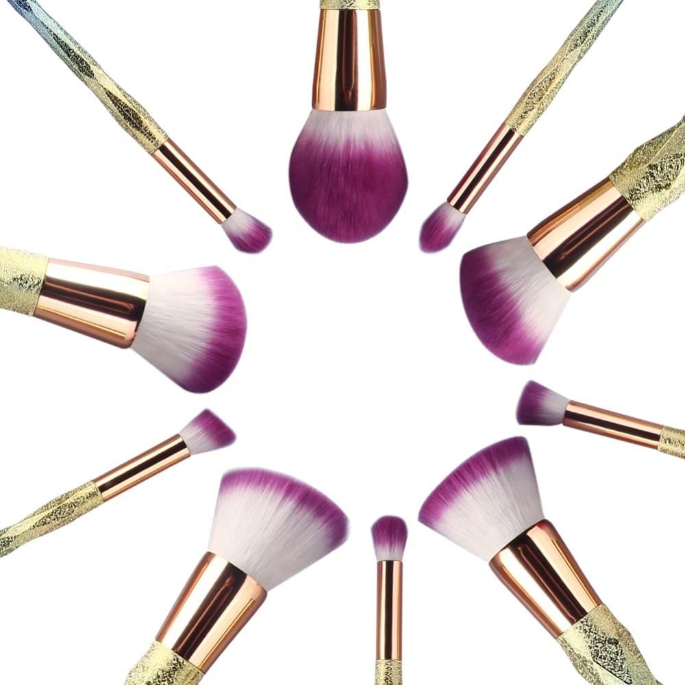 10 pcs Fantasy diamond Bag Makeup Brushes Set Blue Macarons color Facial Foundation Cosmetic Makeup Brush Kit in Eye Shadow Applicator from Beauty Health