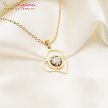 Yunkingdom vintage round crystal dubai jewelry sets pendant necklace earrings for women stainless steel UE0276