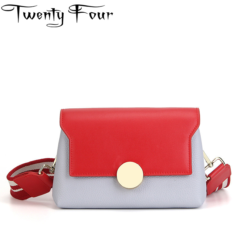 Twenty-four Women star Flap Bag Genuine Leather lady shoulder Bag Fashion Panelled Cross body bags ring Wide shoulder straps bag twenty four women brand flap bags natural genuine leather handbags with chain solid color cover small bags young cross body bags