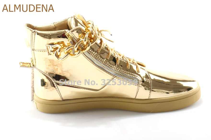1bd6cffce27f ... ALMUDENA Luxurious Men Unisex Gold PU Leather Sneakers Chain  Embellished Lace-up Casual Shoes Fashionable ...