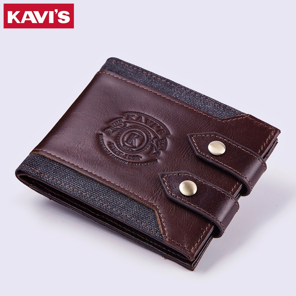KAVIS Brand Top High Quality Genuine Leather Wallet Men Coin Purse Mens Small Walet Portomonee PORTFOLIO Male Cuzdan Card Holder