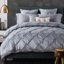 designer bed linen washed silk pleated fisher net bedding set king queen size duvet cover bed sheet  pillow cases 4/6 pcs/silver