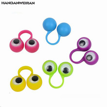 NEW 5PCS/LOT Eye Finger Puppets Plastic Rings with Wiggle Eyes Favors for Kids Assorted Colors Gift Toys Fillers Birthday&Party