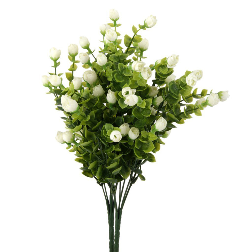 2 Bunches of 6-Branch Artificial Eucalyptus Plant Flowers Home Decor  Wedding Decoration Artificial Flowers(White)