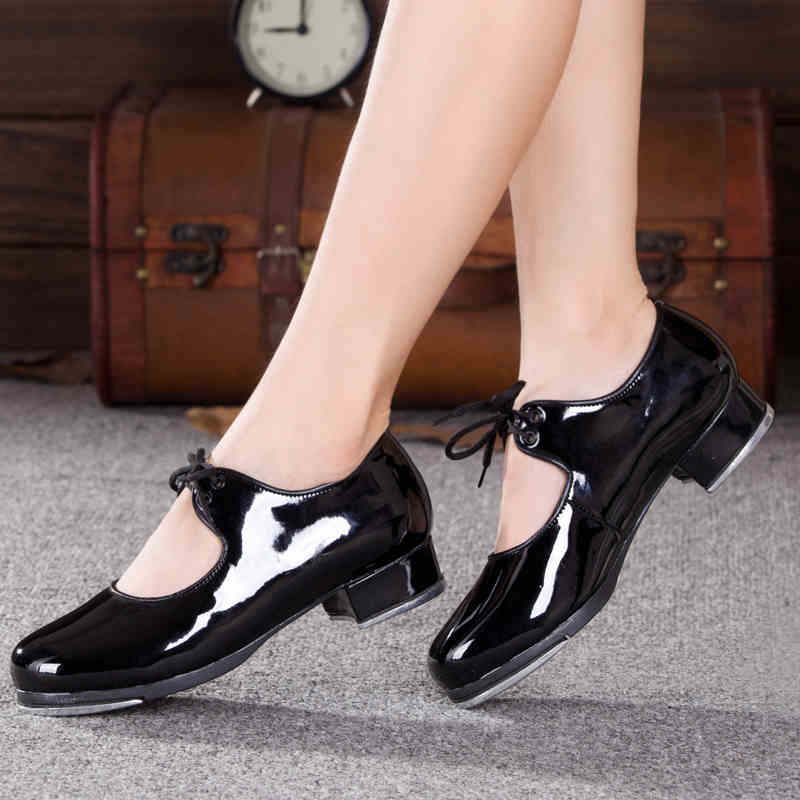 Adult Women Tap Shoes Dance shoes Dancing shoes Professional Tap shoe PU patent leather comfortable 2017 Hot free shipping 4cm