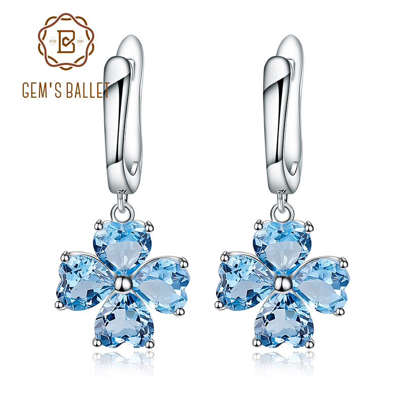 GEM S BALLET 0 95ct Natural Swiss Blue Topaz Genuine 925 Sterling Silver Drop Earrings Women