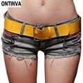 El Cinturón Amarillo!!! Sexy Jeans Rasgados Cortos Femininos Mujer de Encaje de Ganchillo Pantalones Cortos Skort Femenina Del Tamaño Del Verano Caliente Pantalones Cortos de Mezclilla