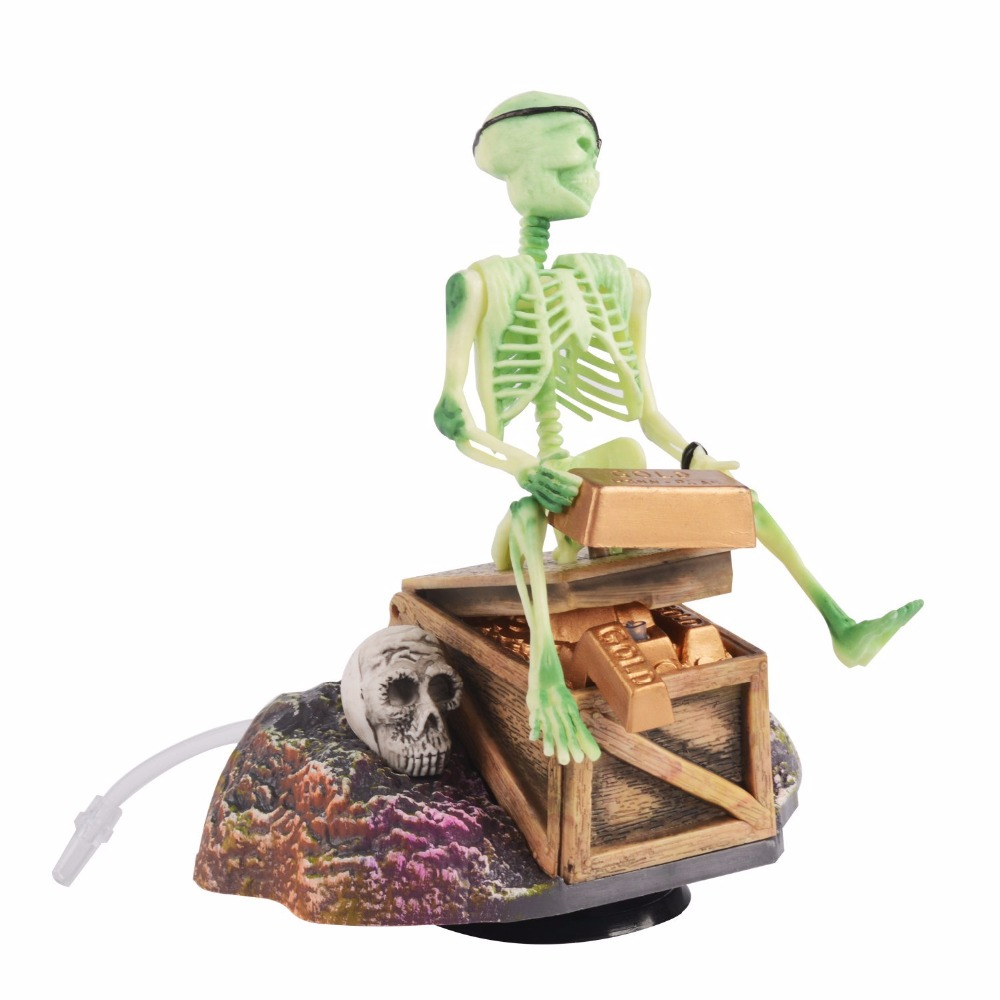 "4.5 ""Saim Pirate Skeletons & Gold Treasures Acțiune Live Acvariu Ornamente Acuario Resin Rezervor de pește Decorațiuni de acvariu"