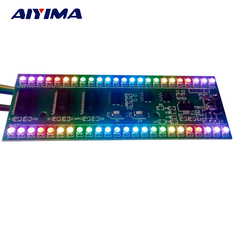 цены Aiyima 5PCS 5V RGB LED level indicator VU Meter Amplifier Board DIY MCU Adjustable Display Pattern Dual Channel Dual 24