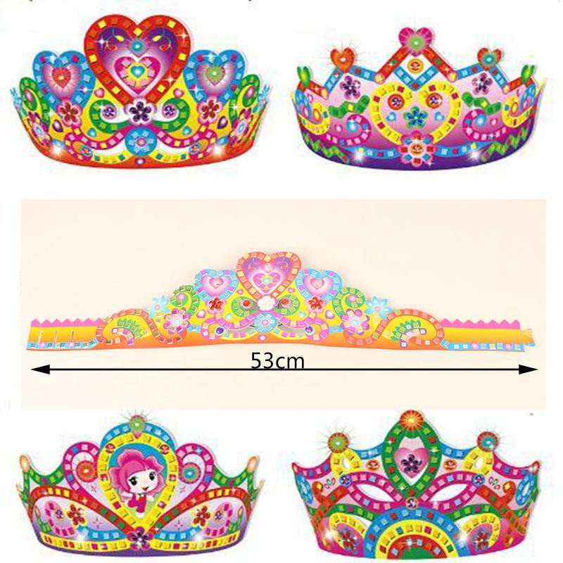 5pcs Children DIY Cartoon Paper Crown Toys For Birthday Party/ Kids Baby 53cm Long Art Craft DIY Crown Hat For Kingergarden