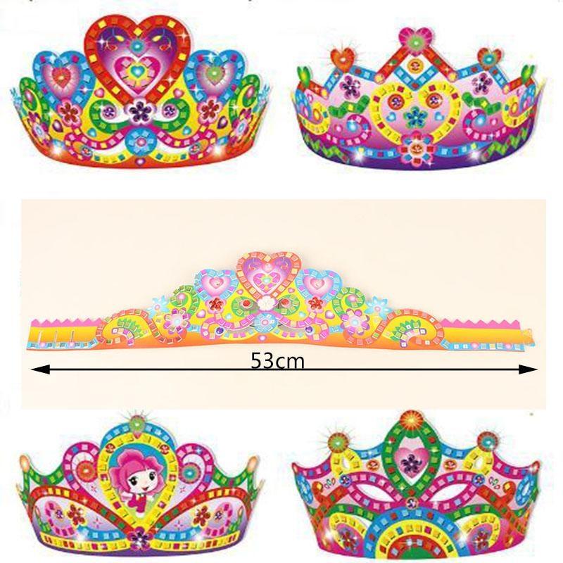 5pcs Children DIY Cartoon Paper Crown Toys For Birthday Party/ Kids Baby 53cm Long Art Craft DIY Crown Hat For Kingergarden