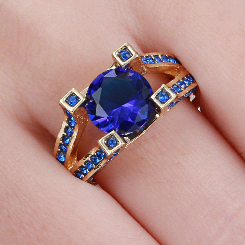 Top Quality Princess Kate Blue Gem Crystal Silver Gold Black Color ...