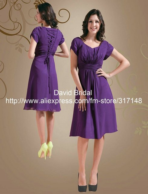 b0b79c86d44 Modest YH091 Lace Up Back Short Sleeve Chiffon Knee Length Bridesmaid Dress  Purple