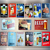 Retro Placa de Beber Cerveza Cartel de Chapa de Metal Bar Pub Club de Decoración de La Pared Del Cartel Del Arte Pintura Decorativa Placas de 30*20 cm Mix orden