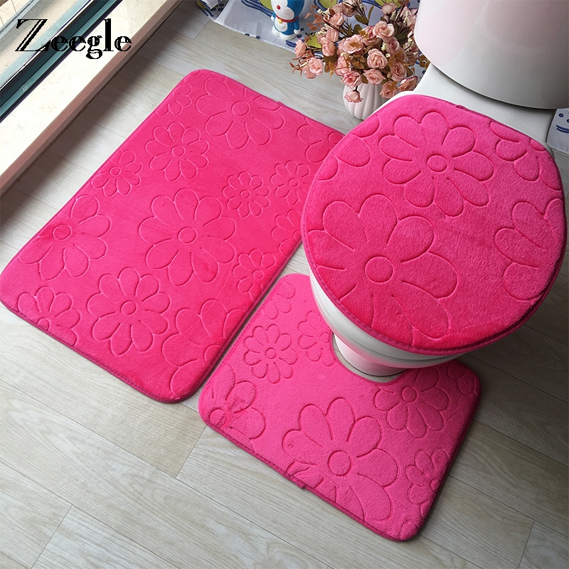 Zeegle 3D Embossed Memory Sponge Toilet Rug 3pcs/set Solid Color Bathroom Mat Absorbent Non-Slip Toilet Soft Carpet ...