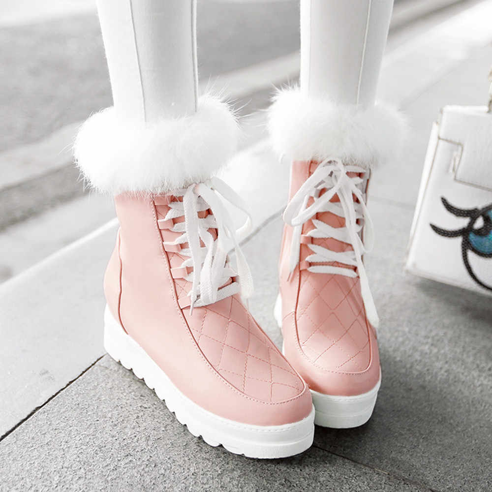 2018 NEW Winter Warm Anti-Slip Platform Slope Snow Boots Women Sexy Ankle Villi Waterproof Female Winter Plush Boots Shoes Pink