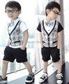 2017 children gird Boy's gentleman modelling summer Short sleeve suits set shirt+ pants+tie Baby Clothes free shipping