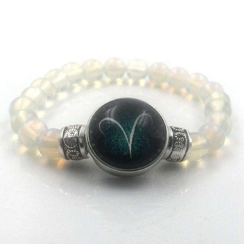 12 Style Natural Stone Beads Bracelets Pink Quartz Beads Opal Stone Zodiac Sign Button Bracelet Jewelry A18008