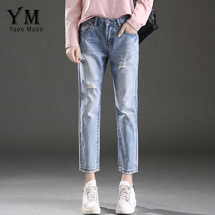 YuooMuoo Fashion Women Ripped Hole Casual Loose Jeans Ladies Mid-Waist Straight Denim Pants Girls Ankle-Length Trousers free shipping fashion women jeans loose ankle length ripped hole harem denim pants korean style casual mid waist femme trousers