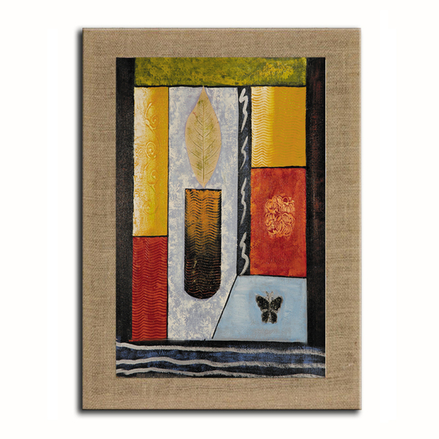 Pintura al óleo pintada a mano abstracta vela en lino con Marcos ...