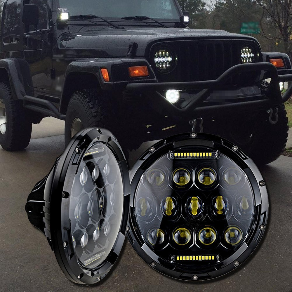 75w Headlamp 7 Inch Led Headlight with DRL for Wrangler Jk Tj Fj Cruiser Trucks Off