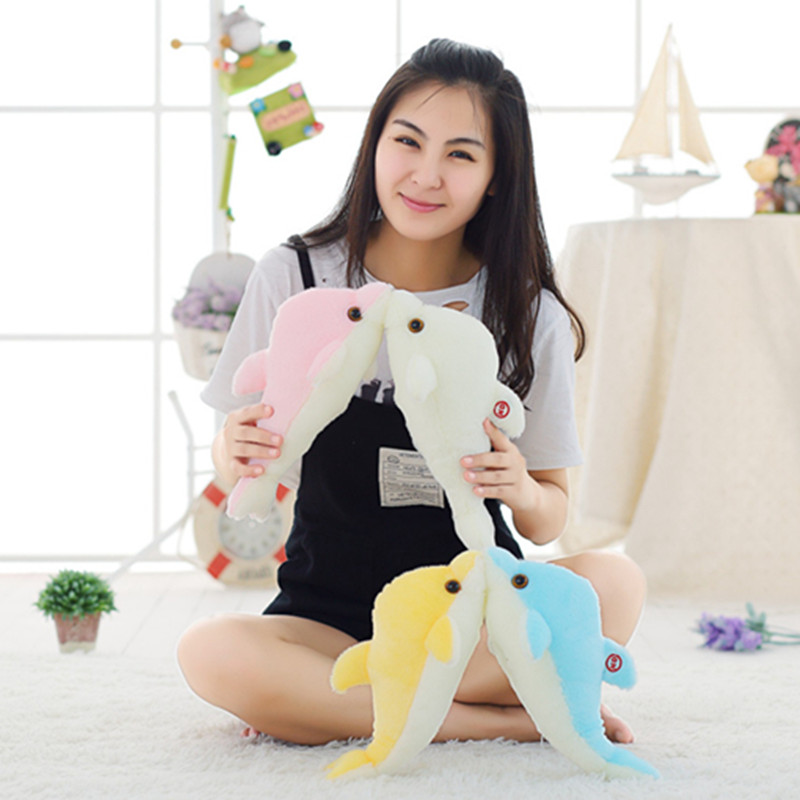 1pc 32cm Stuffed Plush Dolphin Luminous Plush Toys Lighting Stuffed Doll Baby Sleeping Toy Kawaii Toy For Kid Christmas Gift stuffed animal 90 cm plush dolphin toy doll pink or blue colour great gift free shipping w166