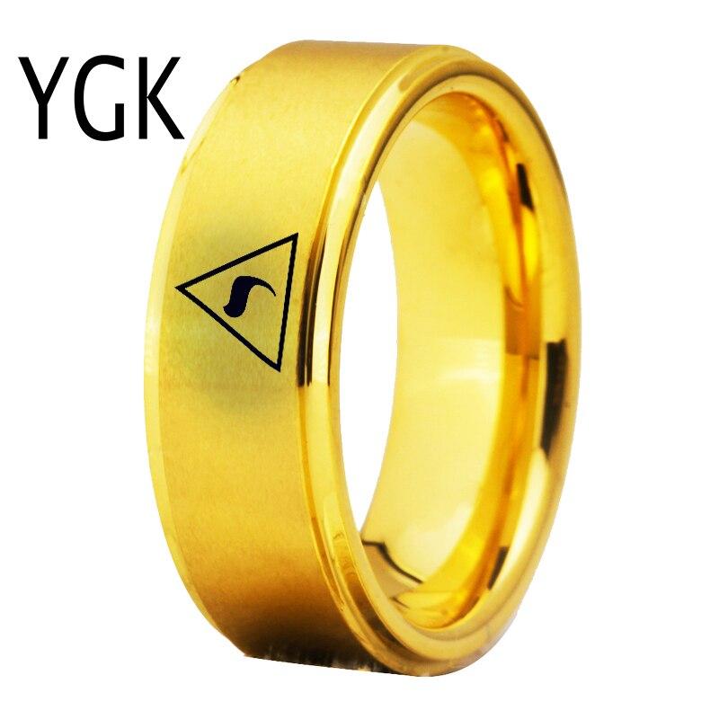 YGK Bijoux Scotish 14th Degré MAÇONNIQUE Franc-Maçon Maçon Anneaux De Tungstène pour les Hommes de Marié De Mariage de Fiançailles Bague Anniversaire