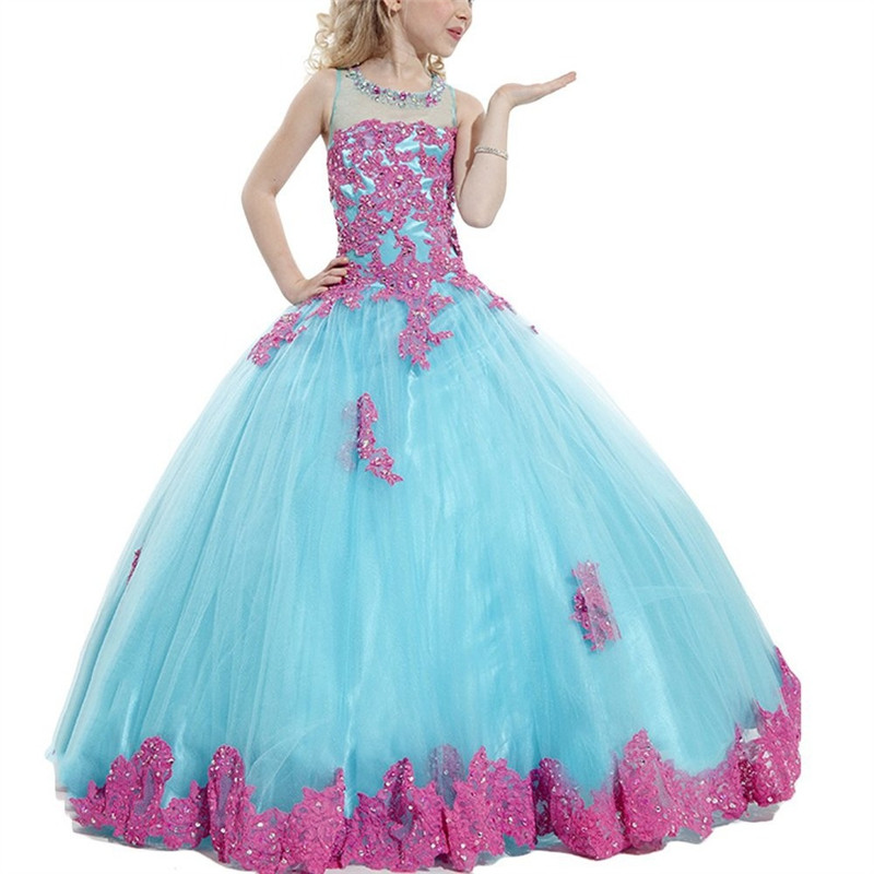 New Arrival 2019 Little Girls Pageant Dress Purple and Green Ball Gown Beads Lace Applique Floor