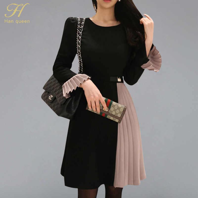 H Han queen зимнее платье для женщин 2018 корейский стиль, лоскутные платья трапециевидной формы приталенные платья с расклешенными рукавами плиссированные с рюшами повседневные платья
