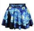 Nuevo diseño de pintura al óleo famosa impreso corto mini faldas mujeres faldas mujer atractiva del verano ocasional estilo vintage saia appare
