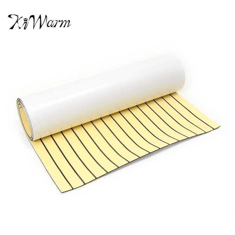 KiWarm Newest 90x230cm Gold Self Adhesive Marine Flooring Synthetic EVA Foam Teak Boat Yacht Decking Sheet Foam <font><b>Floor</b></font> Mat Decor