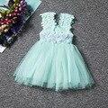 High quality Girls Princess dress 6 color Lace flower Dresses costume summer casual dress birthday princesa vestido infantil