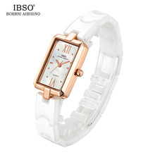 IBSO Rectangle Case Shell Dial Women Watches 2019 High Quality Ceramic Strap Rose gold Quartz Watch Women Fashion Ladies Watches