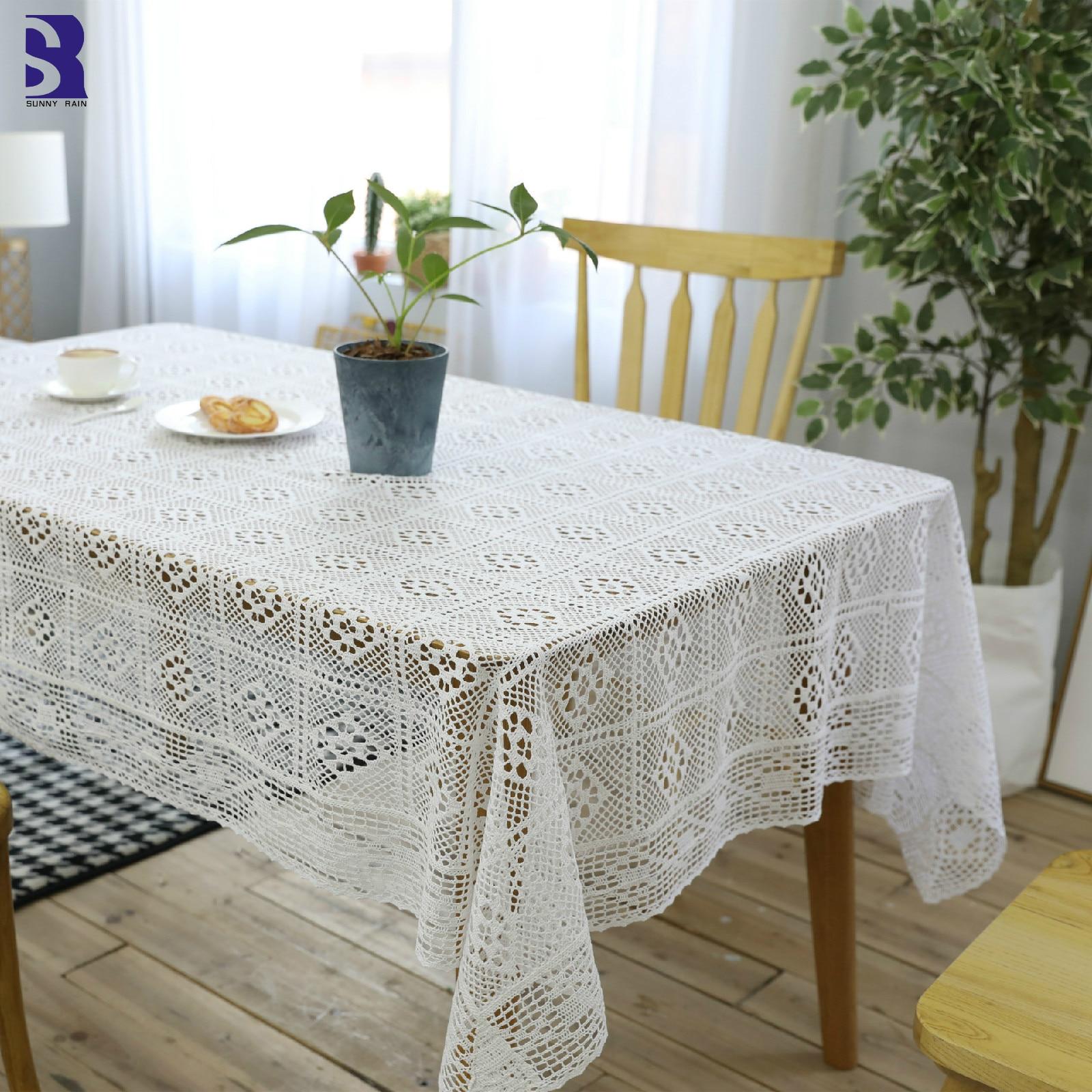 SunnyRain 1 Piece White Crochet Table Cover Christmas ...
