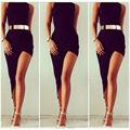 New Arrival O Neck Fitted Bodycon Ankle Length High Low Sexy Black Cocktail Dresses 2015 Women Tight Semi Formal Dress