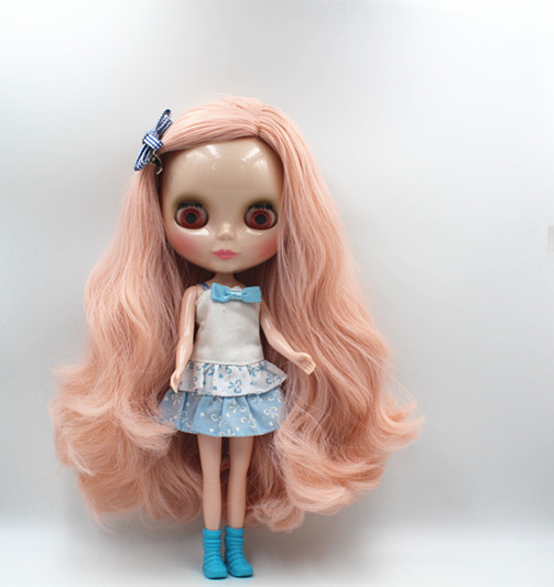 Blygirl Blyth doll Pink wave curls doll NO.125BL025 ordinary body 7 joints normal color of the skin blygirl blyth doll golden wave curls doll no 31bl74 joints body 19 joints normal skin the hand can be rotated