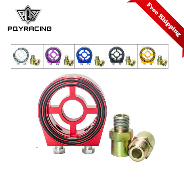 Free Shipping Aluminum M20X1.5 3/4-16 1/8 NPT Racing Oil Pressure Gauge Oil Filter Sandwich Adapter PQY6722