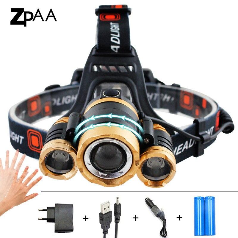 ZPAA LED Zoomable 13000Lm T6 Testa Della Torcia Elettrica Sensore batteria Ricaricabile Head Light Fronte Testa Della Lampada Del Faro di Pesca