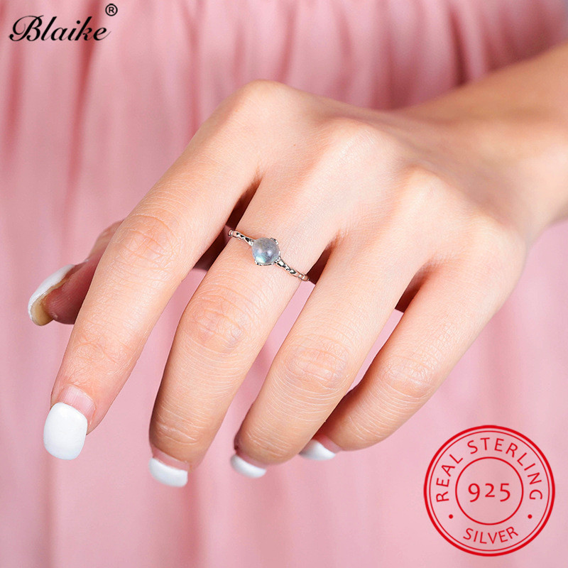 Blaike Mystic Moonstone Rings For Women 925 Sterling Silver Round Crystal Open Thin Wedding Ring Female Adjustable Fine Jewelry