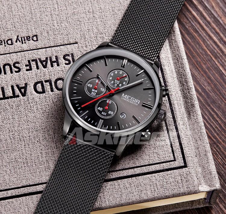 Megir Brand Men's Watch Clock reloj hombre Luxury Stainless Steel Mesh Strap Business Quartz Wristwatch Mens Watches (4)